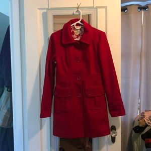 Long Red Peacoat